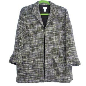 Chicos Purple Tweed Jacket Size 2 Women Size 12 Dr